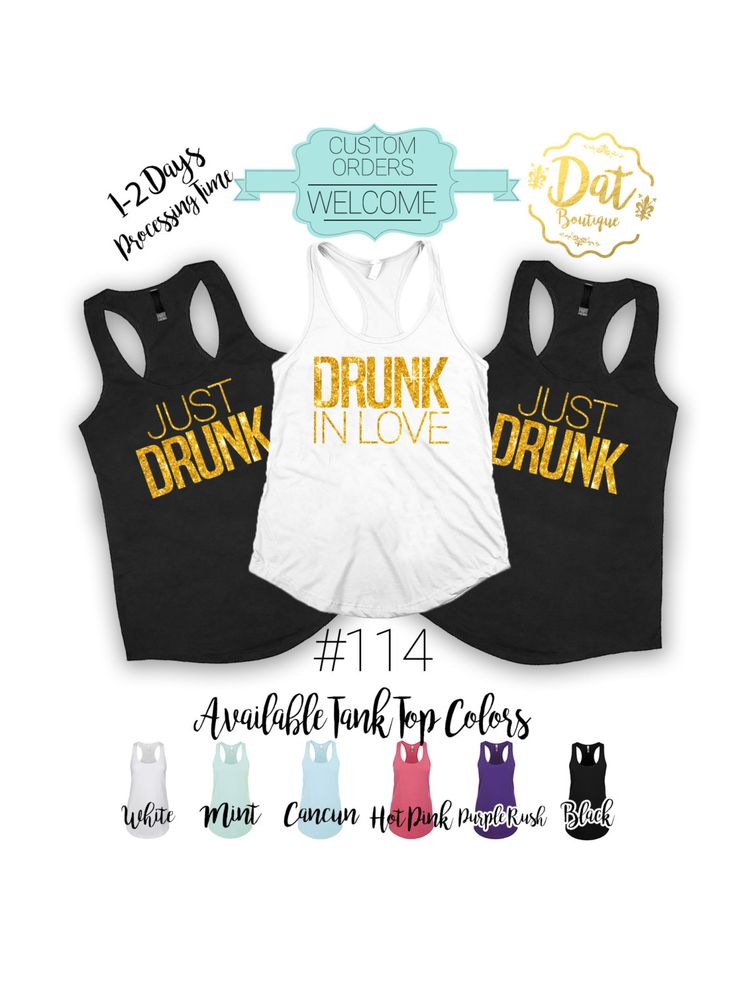 Drunk in Love and Just Drunk  Bachelorette shirts,Bachelor party shirts---Fats…