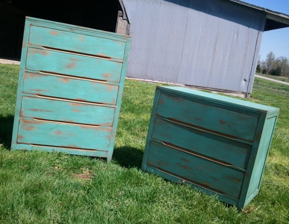 Solid Oak rustic distressed Turquoise dresser set by HayDayLiving, $800.00