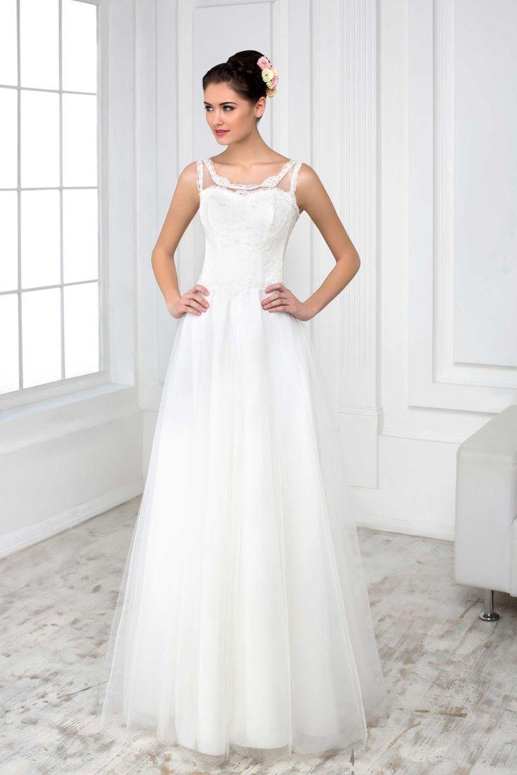 Jednoduché svadobné šaty s jemnou sukňou a čipkovaným vrškom s ramienkami