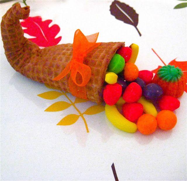 Lindsay Ann Bakes: Thanksgiving Sugar Cone Corucopia