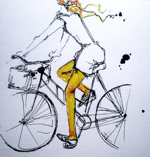 Wearing a headscarf & riding a bike: lovely!