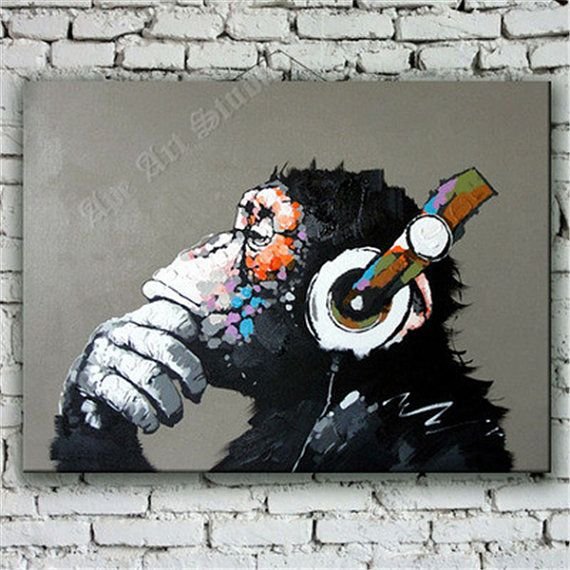 Thinking Ape  oil painting on canvas by Ape Art by ApeArtStudio