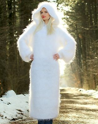 SUPERTANYA WHITE Hand Knitted Mohair Sweater SLOUCHY Fuzzy Dress with Hoodie