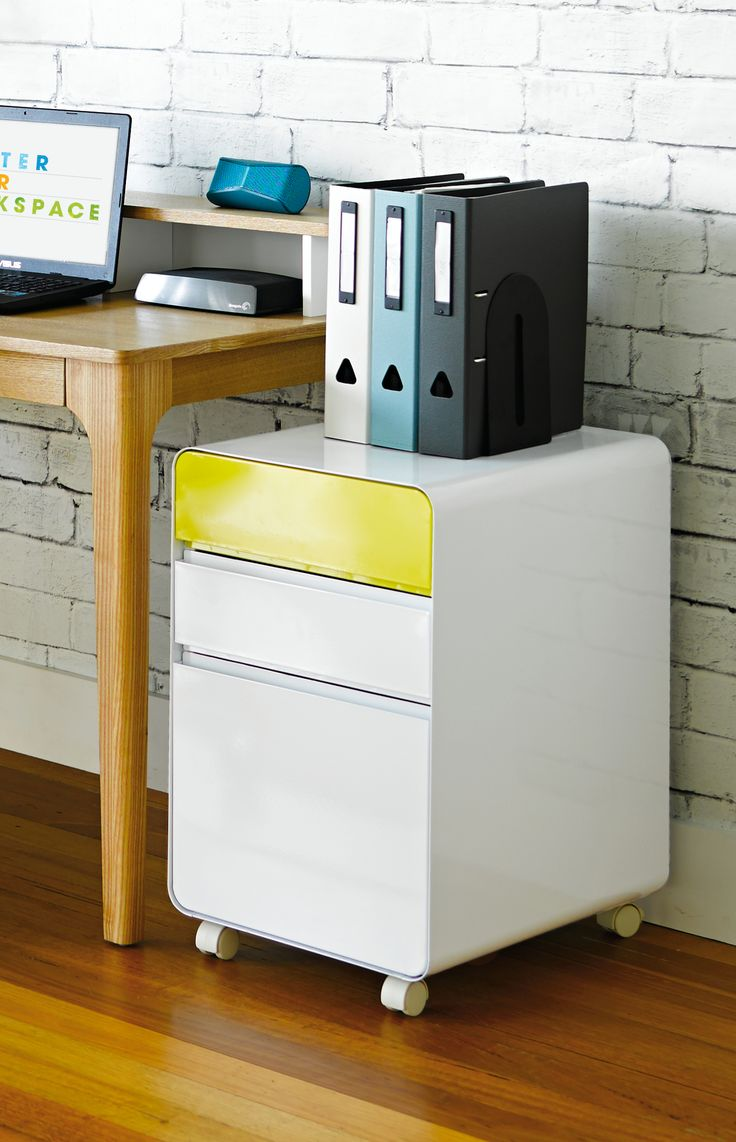Venturo 3 Drawer Pedestal White w/t Venturo Top Drawer Panel Yellow - just a splash of colour to brighten the room.