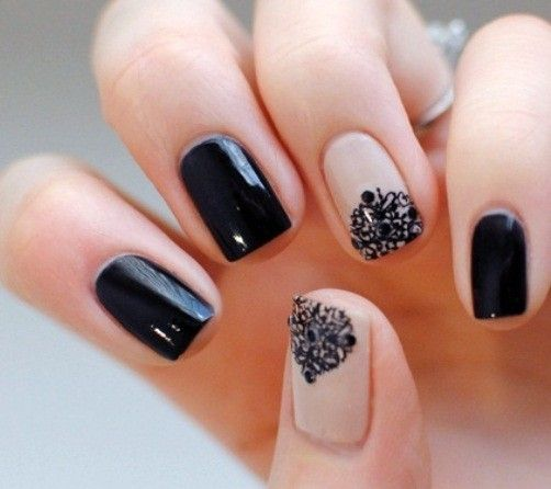 Black and nude chic <3 For my nails on my wedding day