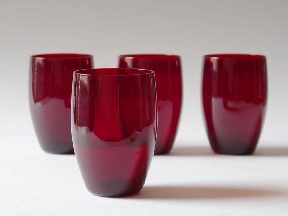 Set Of Four Vintage Swedish Barrel Shaped Ruby Tumblers / Glasses - Reijmyre on Etsy, $33.86
