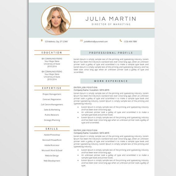 Creative Resume Template Cv Template For Ms Word Modern Etsy Resume Design Professional Creative Resume Templates Resume Template