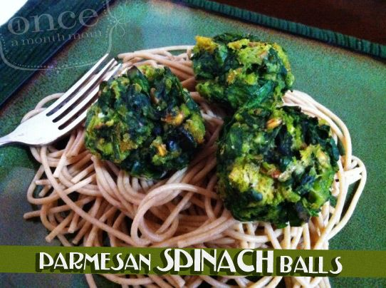 Parmesan Spinach Balls   OAMC from Once A Month Mom #vegetarian #freezercooking