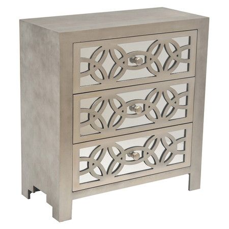 3-Drawer chest with latticework overlay and a grey finish.  Product: ChestConstruction Material: Engineered wood...