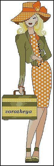 point de croix femme en robe et chapeau à carreaux avec une valise - cross-stitch woman in checked dress and hat with a luggage