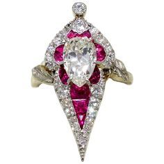 Art Deco Burma Ruby Diamond Platinum Ring | From a unique collection of vintage more rings at https://www.1stdibs.com/jewelry/rings/more-rings/