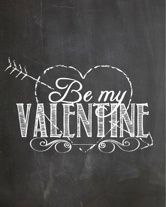 Printable Chalkboard Art Be My Valentine by Pinkowlpartydesign, $4.50