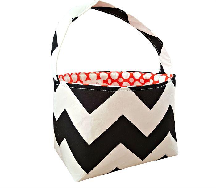 Halloween Trick or Treat Fabric Lolly Candy Basket - Black Chevron