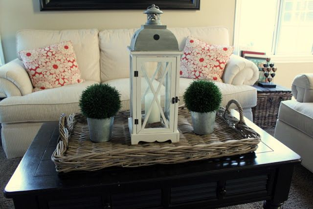 Use A Lantern And Place In My Huge Tray As Coffee Table