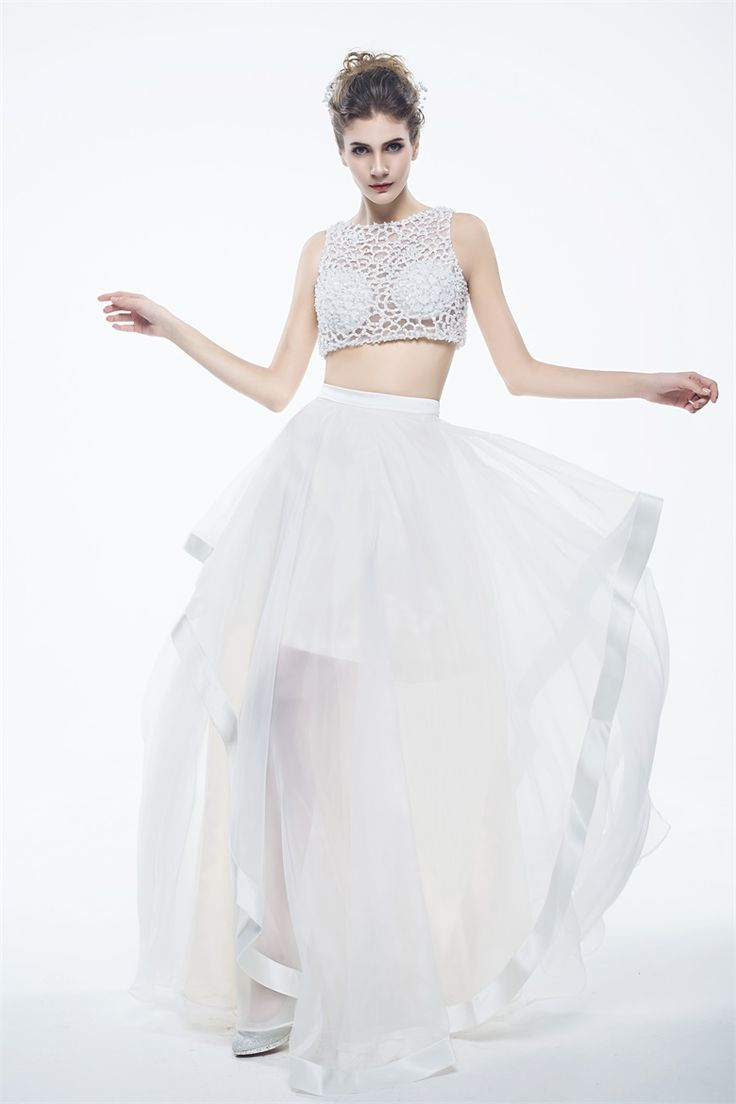 Two-piece A-line Straps Floor-length White Tulle Prom/Cocktail Dress IS0161