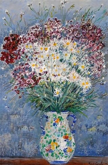 Michele Cascella -  A still life with flowers in a ceramic vase