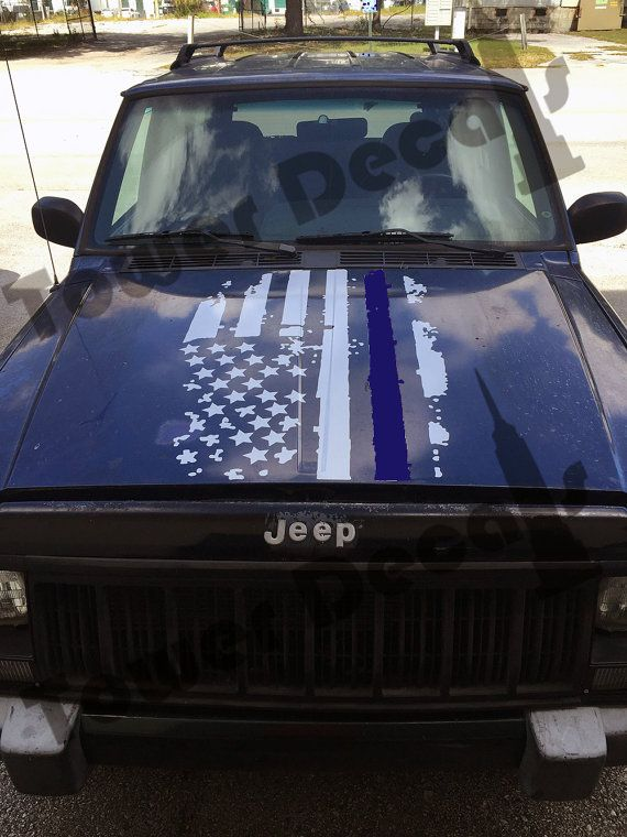 New Dodge Trucks >> Distressed American Flag Hood Thin Blue Line Police decal fits | Jeep stuff | Blue line police ...