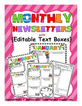 Monthly Newsletters to send home to parents so they feel involved. Great way to get parents involved in their students learning when they know what they are learning at school.
