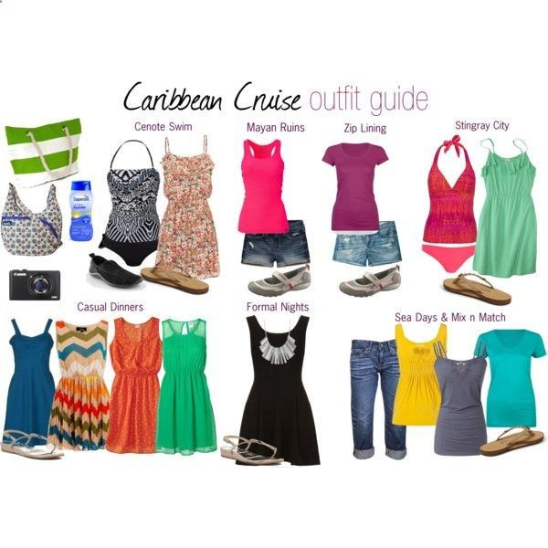 Caribbean Cruise Outfit Guide (7 nights). Includes ideas for shore excursions, casual dinners, sea days, and formal nights. And yes, I am totally over planning.