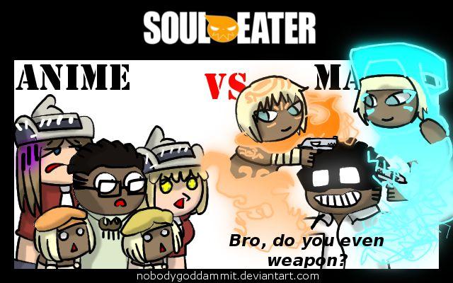 Soul Eater Anime vs. Manga: A LOT OF PPL by nobodygoddammit.deviantart.com on @DeviantArt