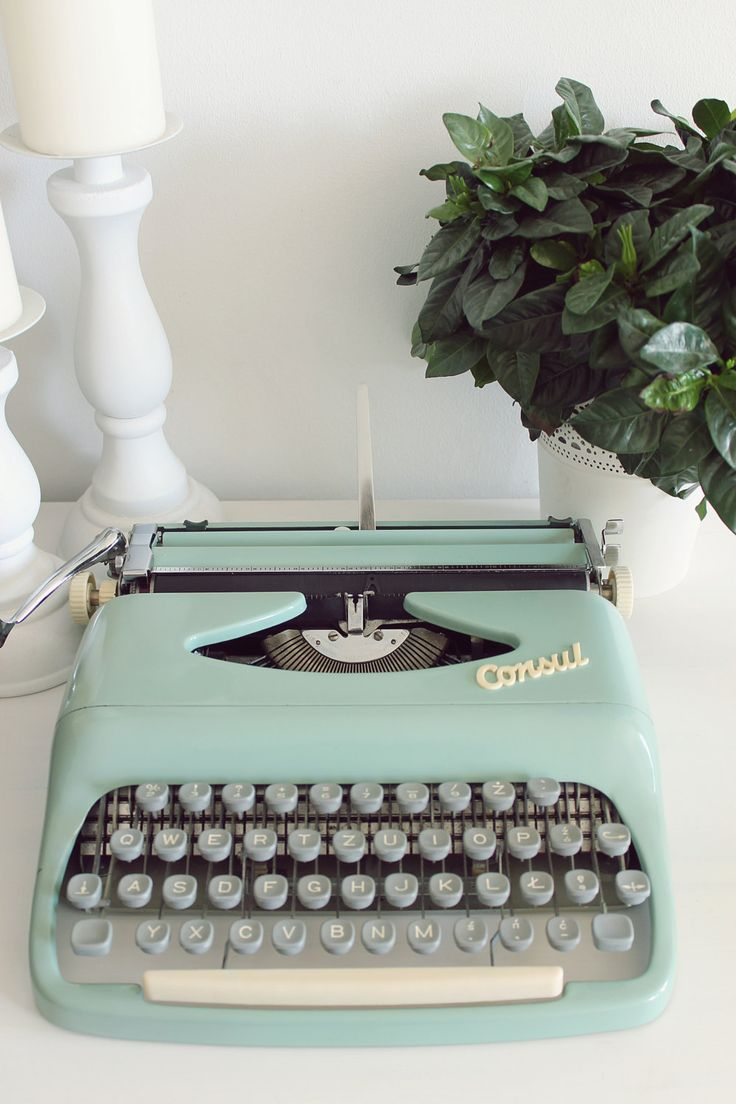 Consul retro mint  light turquoise working portable typewriter with original case by Cottoni on Etsy