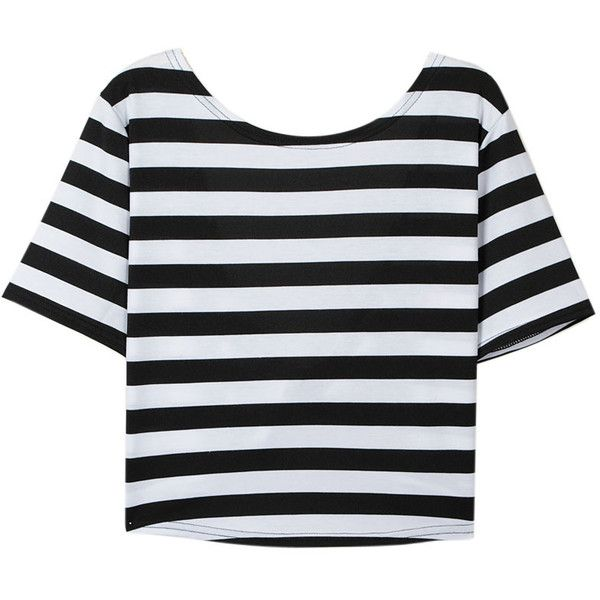 Choies Black and White Stripe Cross Open Back T-shirt (465 PHP) ❤ liked on Polyvore featuring tops, t-shirts, shirts, tees, multi, open back t shirt, t shirts, stripe t shirt, cross shirt and cross t shirt