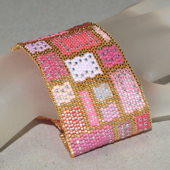 In Stitches, Pink and Precious ... Beadwoven bracelet in shades of pink surrounded by shiny gold.  Or in whatever colors you like!  :-)