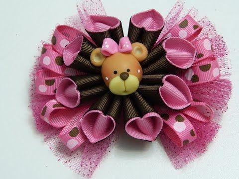 Moños pequeños elegantes con flores cono doble color, video 538, Ribbon Hair Bow Tutorial - YouTube