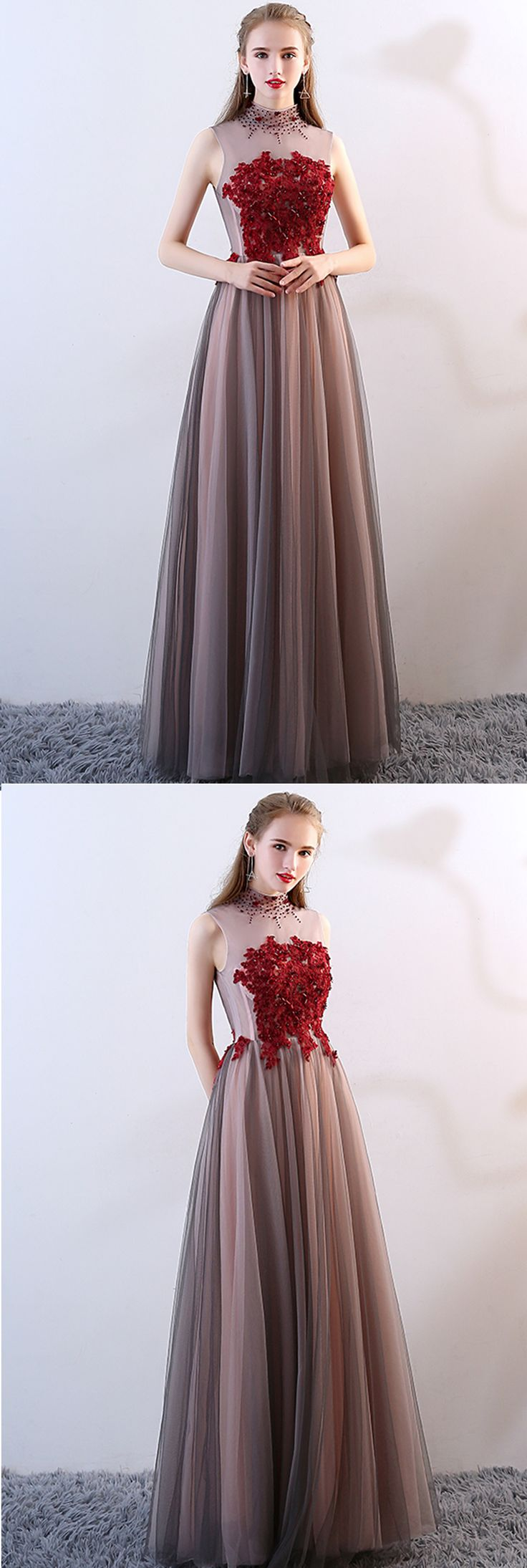 Spring high neck beaded long sweet 16 prom dresses with appliques