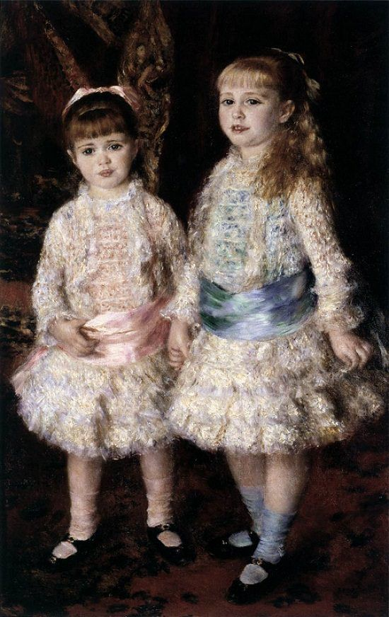 Pink and blue - by Pierre-Auguste Renoir c. 1880. Renoir portrayed the 2 daughters of the banker Louis Raphaël Cahen d'Anvers, the blonde, Elisabeth, born in December 1874, and the younger, Alice, in February 1876, when they were respectively six and five years old. The artist produced many portraits for the families of the Parisian Jewish community at the time, and Louis Cahen d'Anvers, married to Louise de Morpurgo, descendant of a rich family from Trieste, was one of the most wealthy.
