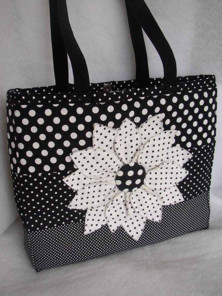 black large flower, reversible bags 001