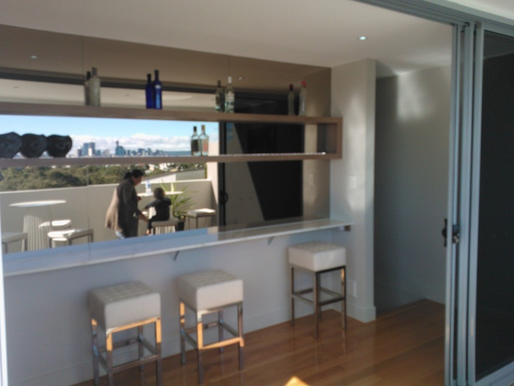 Outdoor bar area (4th level) - small area, straight at top of stairs. Bar area with mirrored splashback - looks amazing with city views straight behind it.