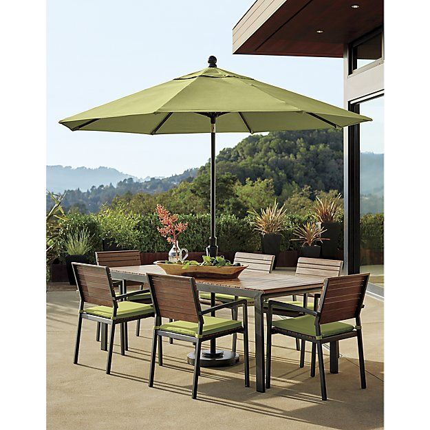 9' Round Sunbrella ® Kiwi Outdoor Umbrella with Tilt Black Frame | Crate and Barrel