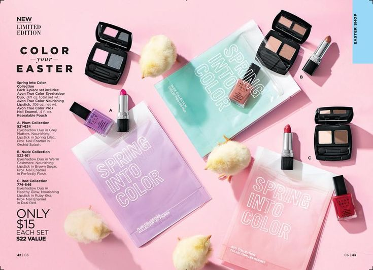 This season, wear the coordinating colors of Avon True Color makeup. Create fresh looks wherever you go by packing your beauties in the perfect-for-spring pouch. 💐 A $22 value for just $15!  #Avon #AvonRep #AvonTrueColor #Spring #SpringIntoColorCollection #Eyeshadow #Lipstick #NailEnamel #NailPolish #Makeup #Cosmetics #Trio #Plum #Nude #Red #New   https://www.avon.com/product/avon-true-color-spring-into-color-collection-60300?rep=maureenmayer
