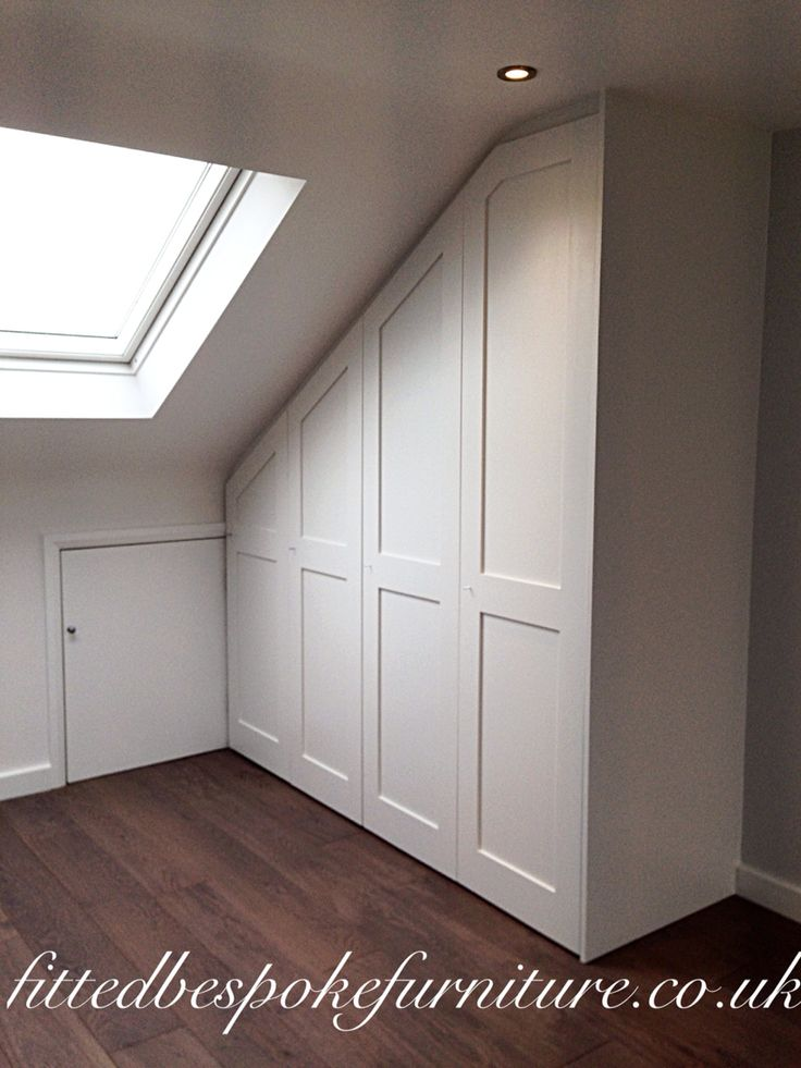 Surbiton Wardrobe in loft conversion | made to fit sloping ceiling | shaker panel modern | hand painted with 'strong white' by FB
