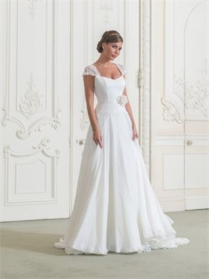 2015 Wedding Dresses White A Line Scoop Neck Sashes Flower Zipper Chiffon Bridal Gowns AWD62013