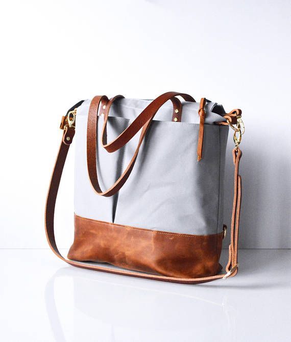 Waxed Canvas Tote Bag Backpack Leather Work Crossbody Light Grey And Toffee All Bags Are Handmade To