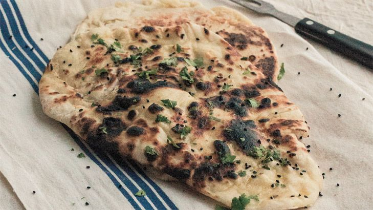 Sneh Roy's naan bread: It should have a lovely char and be shaped like a tear.