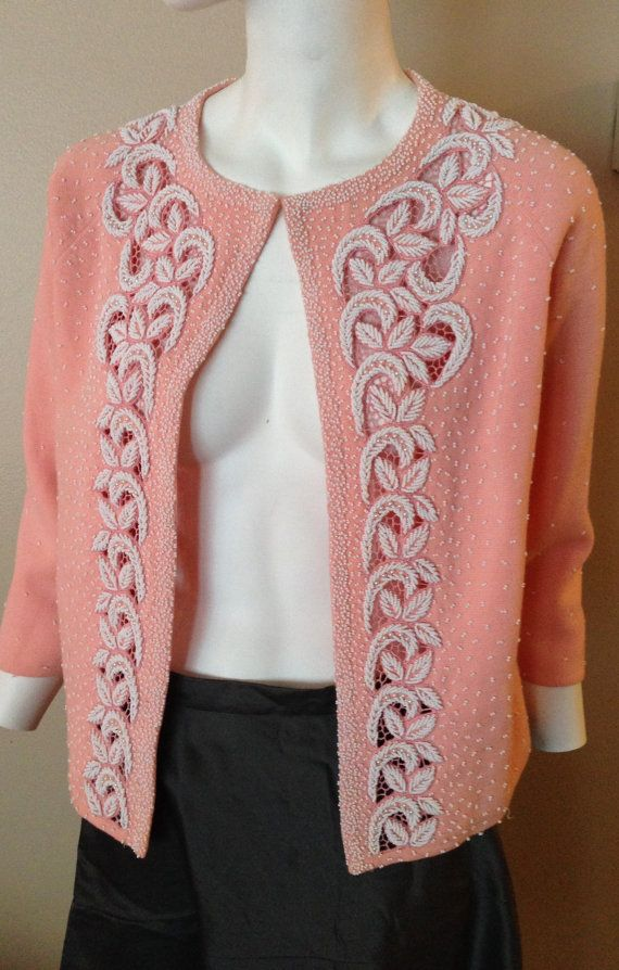 Vintage 1950s Pink Beaded Wool Sweater
