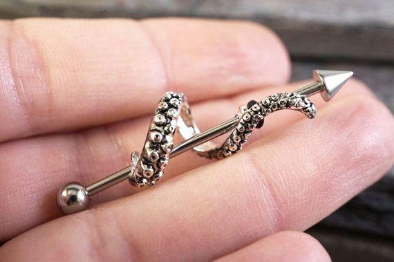 Poulpe tentacule Barbell industriel Piercing anneau d