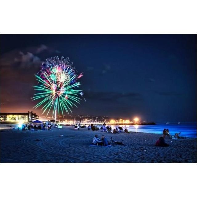 Fireworks on the beach.