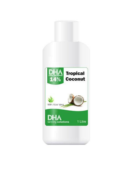 The famous 'just back from holiday' scented ultra premium, professional spray tan that your clients will adore. DHA Tropical Coconut Spray Tan Tanning Solution is blended with super soft Aloe Vera to moisturise and protect your skin. DHA Contains NO alcohol, parabens and isn't tested on animals. http://www.dhasolutions.co.uk/spray-tan-solutions/dha-spray-tan-tanning-solution-tropical-coconut-1000ml-detail