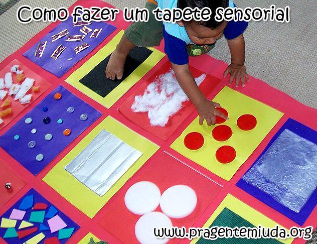 Como fazer um tapete sensorial para brincar - Atividades para maternal, creche e berçário