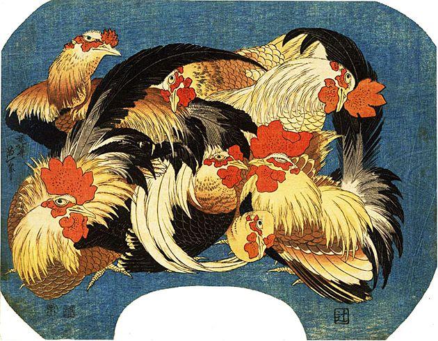 葛飾北斎の団扇絵 花鳥錦絵シリーズの1枚、『軍鶏』