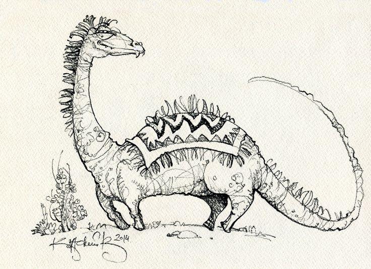 Динозавр.  Dinosaur. graphics, design paper, pencil