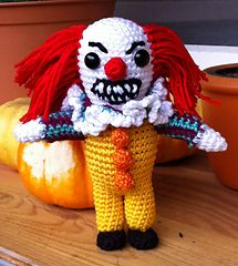"Pennywise the dancing clown by Kerstin Batz -  This pattern is available for free. Just in time for Halloween: my favourite clown based on the movie ""it"" by Stephen King. Penny wise is 12cm high and ready to spread terror in your house ;-) You need the usual things for sewing and stuffing + 9mm glass eyes."