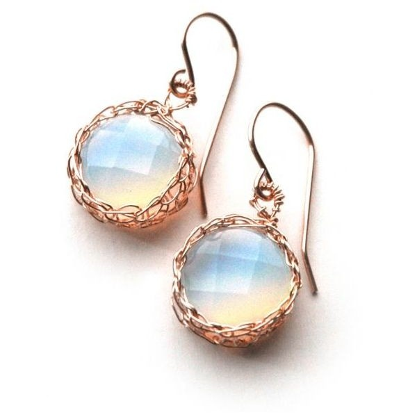 YooLa Hanging OPALITE earrings ROSE gold wire crochet ($53) ❤ liked on Polyvore
