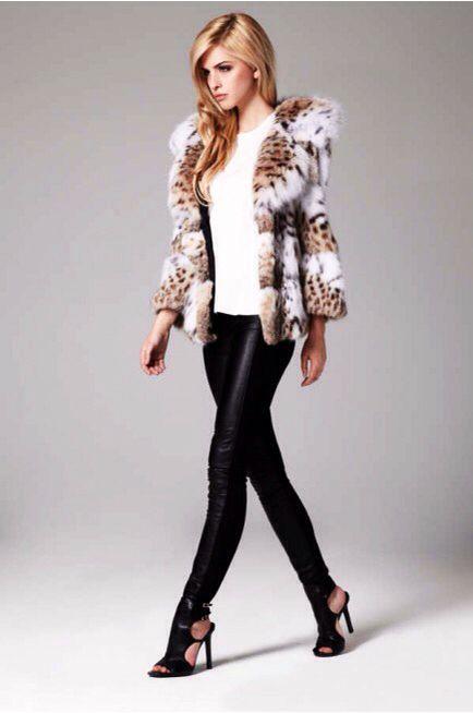Lilly E Violetta Cat Lynx Fur Jacket