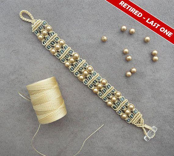Items similar to SALE - Gold Swarovski Pearl Macrame Bracelet on Etsy