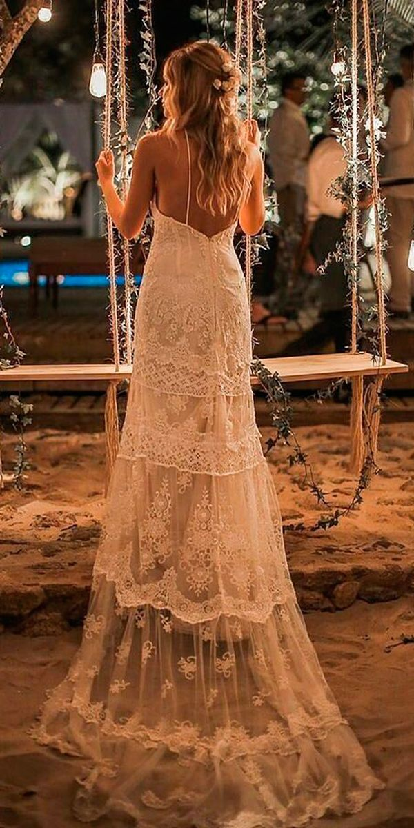 36 Boho Wedding Dresses Of Your Dream ❤ boho wedding dresses lace straight spaghetti straps with train yolan cris ❤ See more: http://www.weddingforward.com/boho-wedding-dresses/ #weddingforward #wedding #bride